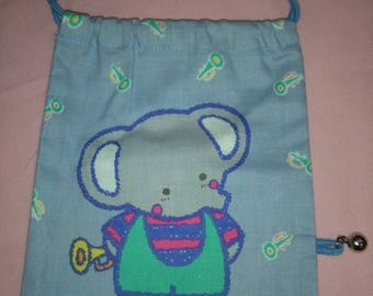 Vintage Sanrio Blue Elephant Bag 1979 Cherry Chums Fabric Drawstring with bell
