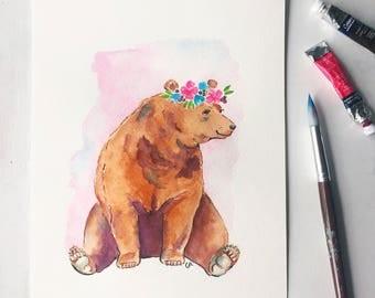 Bear digital print - watercolor bear print - woodland nursery print - instant download
