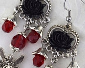 Made to Order, Faery Rose - Multiple Colors Available - Black rose fairy earrings, red and black earrings, victorian fantasy earrings