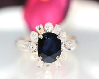 Vintage 10k White Gold Natural Oval Dark Blue Sapphire Solitaire ring band 1.42