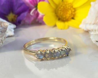 20% off- SALE!! Labradorite Ring - Grey Ring - Genuine Gemstone - Gold Ring - Stacking Ring - Prong Set Ring - Tiny Ring - Rainbow Ring