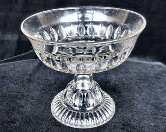 """Pressed Glass Open Compote in the """"Cordova"""" pattern Antique circa late 1800s"""