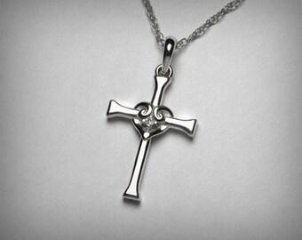 Diamond Cross Necklace, 14K Cross Pendant, Diamond Heart Necklace, 14K White Gold Cross, Diamond Pendant, Confirmation First Communion Gift