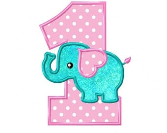 1st Birthday Elephant...Instant Download...Applique Machine Embroidery DESIGN NO. 807
