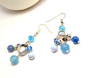 Aquamarine earrings, Blue stone ewelry, Chalcedony Dangles, Heal stone jewelry, Blue crystal, pierced earrings, Mother 's day gift