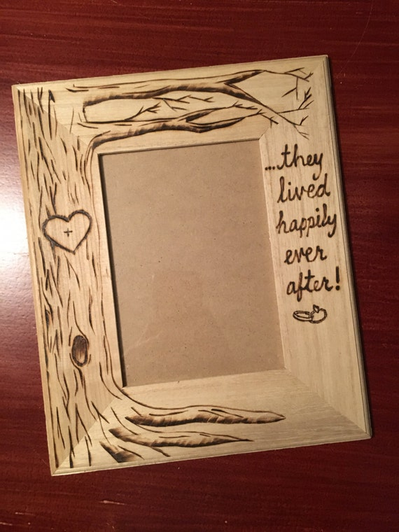 fairy tale happily ever after picture frame personalized once upon a time wood burning art wedding initials in tree anniversary gift from designcab - Wood Burning Picture Frame