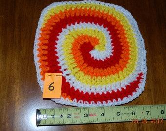Bright, almost neon, kitchen! Retro Hand crocheted hot pad hot mat trivet swirl design white orange red yellow