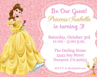 Princess Belle, Beauty & the Beast Invitation Kid's Birthday Party Invite Birthday Invitation