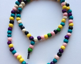 Pastel multi coloured mala prayer beads / necklace. 8mm Handmade