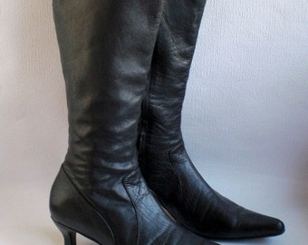 Black Leather Boots,Kidleather Lined, Pointed Boots, Size 39