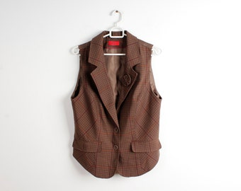 Vintage Checkered Women Vests Long Brown Waistcoat Attached Flower Vest Romantic Vest