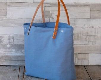 Maxibag - Shopping bag - Blue - Shoulder Maxi bag, handmade in canvas, with removable leather straps
