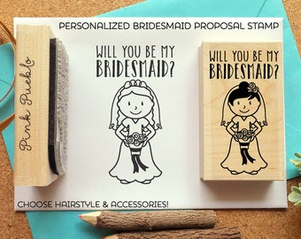 Personalized Bridesmaid Proposal Stamp, Personalized Wedding or Bridal Rubber Stamp - Choose Hairstyle and Accessories