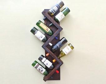 Wine Rack - Rustic Wall Mounted 8 Bottle Wine Rack