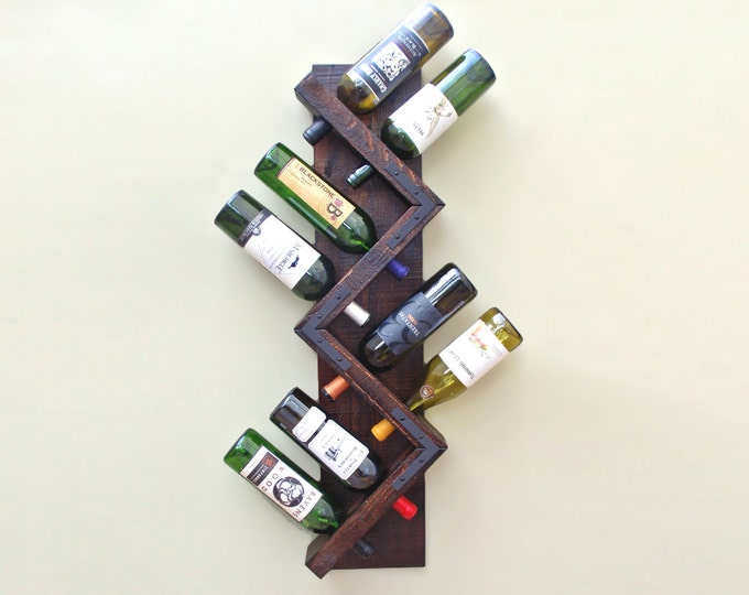 Zig Zag Wine Rack, Wood Wall Wine Rack, Wine Storage, Wine Bottle Display, Hanging Wine Rack