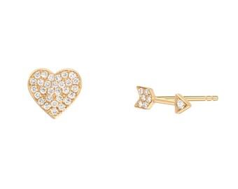 Diamond heart and arrow stu earrings