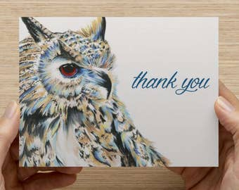 "Owl Greeting Card - Set of 20 5.5x4"" folded cards"