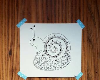 Original line drawing of a cute snail