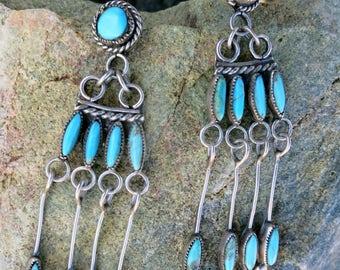 ZUNI CHANDELIER EARRINGS, Turquoise Needle Point, Handmade, Dangles, Sterling