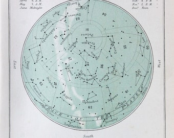 Antique Astronomy Print -  Celestial Star Chart for June, Colour Astronomical Print c. 1900