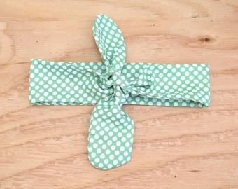 Tie headband, green polka dot headband, dolly bow, green and white, hair wrap, vintage hair accessories, retro headband, hair tie