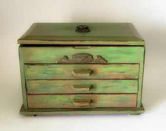 Vintage Jewelry Box,Annie Sloan Chalk Paint,Distressed Finish,Waxed & Embellished,Metal Trim Details,Restyled Jewelry Box