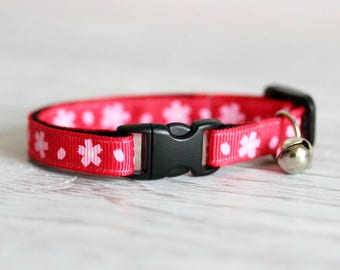 Cat Collar Red Floral Collar Breakaway Cat Collar Red Cat Collar Flower Collar Red Pink Cat Collar Red Blossom Collar Summer Cat Collar Red