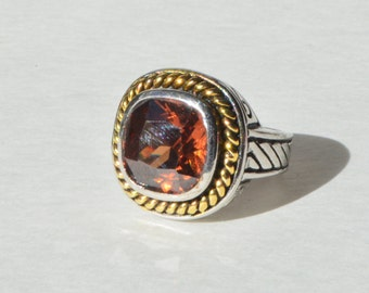 Vintage Silver Gold Two Tone Over Brass Faceted Critine Smoky Topaz Ring Size 6.25