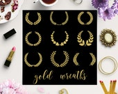CRAFTED IN GOLD, Laurel Wreath Clipart, Wreath Collection, Gold Foil Laurels Clipart, Golden Laurel Wreaths, Instant Download, BUY5FOR8