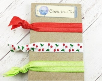 Cherry Elastic Hair Ties - Stocking Stuffers - Cherries FOE Hair Tie - No Crease Hair Ties - Ponytail Holder - Elastic Hair Bands - Set of 3