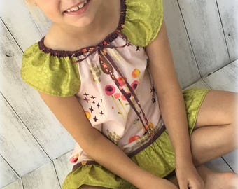 Organic Cotton Sunny Day dress with tie, ruffle and flutter sleeves