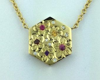 14k Gold-Diamonds, Garnets & Sapphires Engraved Pendant