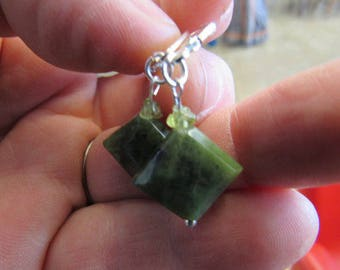 Hand Made Jade Silver and Peridot Earrings