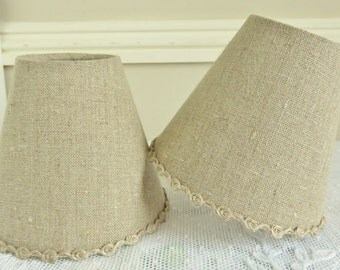 A natural linen candle lampshade 11 x 13 cm / 4.3 x 5.1 ins for wall Light, sconce or ceiling chandelier linen trim