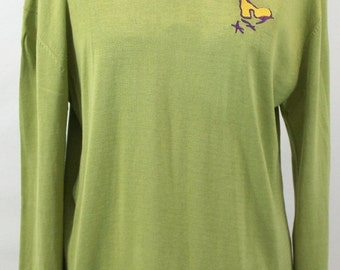 30% Off Sale Light olive green silk blend top embroidered with tiny gold finch design