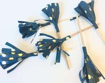 Blue and Gold Tissue Tassel Cupcake Toppers