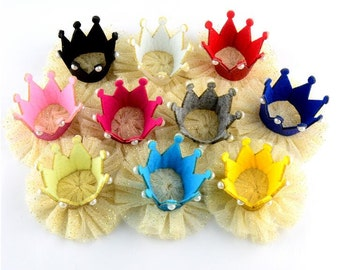 U Pick! Chiffon Gauze Flower with Glitter Crown DIY Happy Party  Flowers Hair Accessories Etc.-- YTD1
