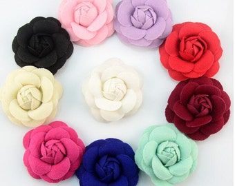 U Pick Color 10pcs 7CM 2.8'' Camellia Rose Buds Fabric Flower Brooch/Flower Headdress DIY Headband Accessories-Mixed Color- YTA85