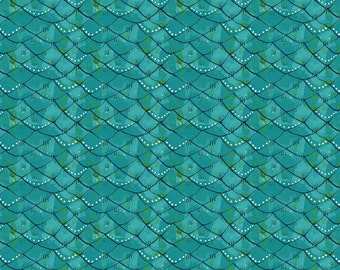 Scalloped Turquoise from Mermaid Days fabric collection by Blend Fabrics, Mermaid scales fabric, teal mermaid fabric, fish scale fabric