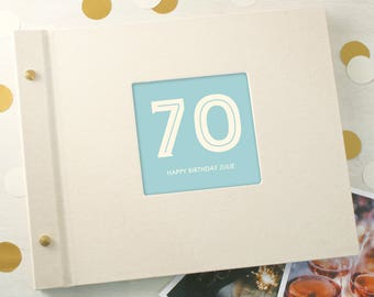 Personalised Typographic 70th Birthday Photo Album