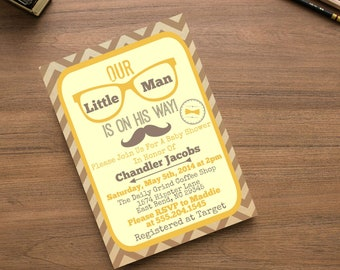 Mustache Little Man Baby Shower  Invite,  Invitation with Mustache, Hipster Vintage Invite, Retro Baby Shower, Digital File