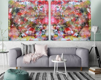 Original abstract artwork on canvas ready to hang 120x240cm #190