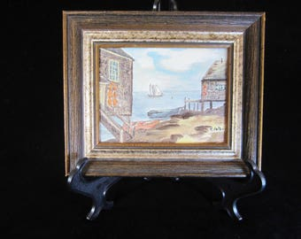 Miniature Oil Painting of Maine Waterfront - by Rosemary Peters 1976. Depicts lovely waterfront scene in rustic earth-tone colors. In frame!