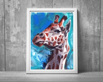 nursery wall artwork, giraffe kids room, zoo nursery print, oil painting, Giraffe Painting, african animal,  giraffe wall art, gift idea