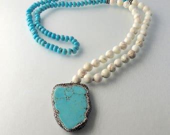 Turquoise Pendant Necklace - Turquoise Rondelle beads - white moonstone beads necklace - Hand Knotted Turquoise Necklace - Cubic Zirconia