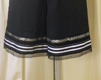 Black Polyester Crinkle Bloomers / Pantaloons with Multiple Lace Trims, Striped Ribbon, Size XS