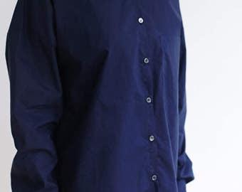 Womens Navy Blue Cotton Shirt,Classic Casual Shirt,Button Down Shirt