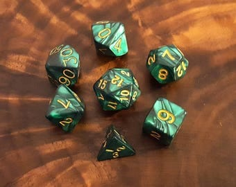 Sea Green Marble Polyhedral Dice Set