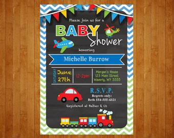 Transportation Baby Shower chalkboard Invitation Cars, Planes, Trucks Baby Shower Printable Digital File