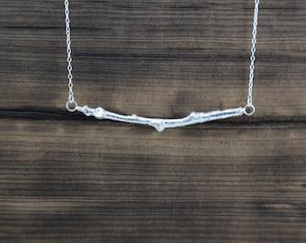Sterling silver cork oak twig